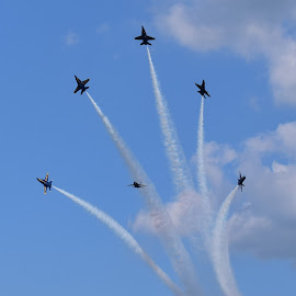 Blue Angels Fireworks  by Monroe Phillips - Transportation Airplanes