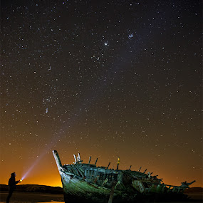 Bad Eddies Boat by Brens Photo's - Landscapes Starscapes ( ireland, stars, bad eddies boat, nightime, dunbeg, donegal, star shot )