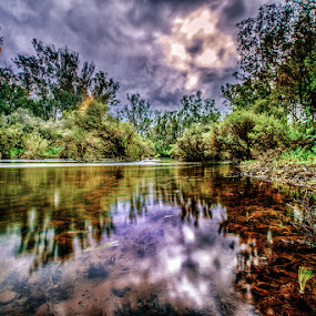 Flowing River by Greg Tennant - Landscapes Waterscapes ( water, waterscape, cloudscape, trees, river,  )