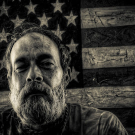 American Unk by Joel Thompson - People Portraits of Men ( bronze, flag, black and white, aged american, american flag, dark, aged, patriot,  )