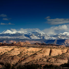 Snow-Capped Mountains by Dub Scroggin - Landscapes Mountains & Hills ( moab, mountains, arches np, arches national park, utah )