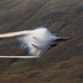 F-15 contrail and fluff by Mal Spain - Transportation Airplanes ( contrails, f-15, fighter, jet )