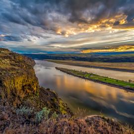 Crescent Bar Golf Course by Bob Juarez - Pixel Fusion Imagery - Landscapes Sunsets & Sunrises ( mountains, golf course, sunset, resort, river )