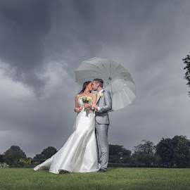 Sunshine on a Rainy Day by Paul Eyre - Wedding Bride & Groom ( wedding photography, nottingham wedding photographer, weddings, wedding photographer, marriage )