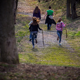 Wait for me! by Jerry Keefer - City,  Street & Park  City Parks ( park, trail, woods, hiking )