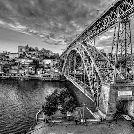 Oporto City - Bridge D.Luis by Henrique Melo - City,  Street & Park  Historic Districts ( ponte d.luis, oporto, henrique melo, bridge, douro, river, porto )