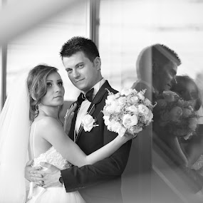 to the future by Costi Manolache - Wedding Bride & Groom ( reflection, black and white, future, bride, groom )