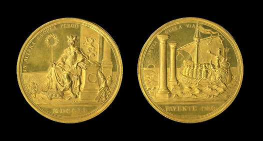 This medal commemorates the centenary of the formation of the Dutch East India Company (VOC) in 1602. Arguably the world's first multinational company and the first to issue stock, the VOC was created to challenge Portuguese dominance in the global spice trade.