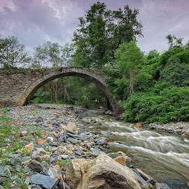 old bridge by Naiden Bochev - Landscapes Travel ( ancient, old bridge, forest, rock, landscapes, landscape, rocks, river )