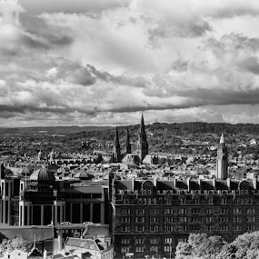 Edinburgh by Stephanie Moore - Landscapes Travel ( scotland, sky, edinburgh, b&w, clouds scene, pwcbwlandscapes, landscape )