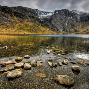 The Shallows by Mike Shields - Landscapes Mountains & Hills ( mountains, sky, cwm idwal, lake, stones, capel curig, rocks )