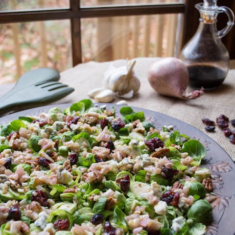Easy Low Carb Pecan Cranberry Brussels Sprout Salad