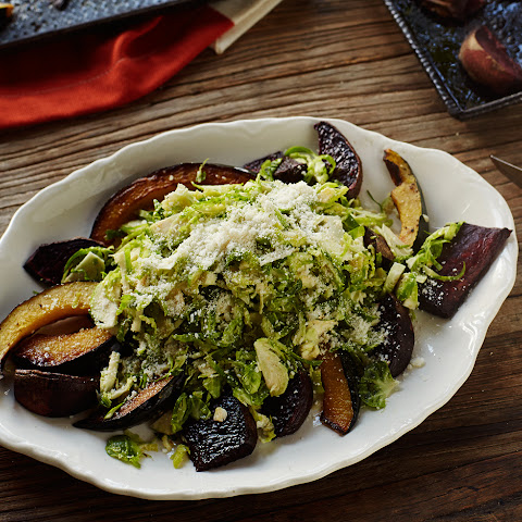 Shaved Brussels Sprouts with Roasted Beets and Acorn Squash