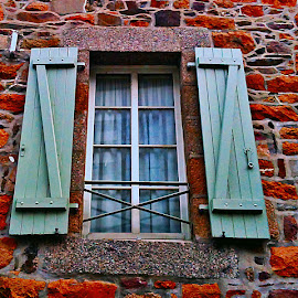 Green window by Dobrin Anca - Buildings & Architecture Architectural Detail ( window, blue, green, stone, brittany )