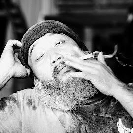 wanna a sleep.... by Aryajati Furniture - People Portraits of Men ( tired, sleepy, sleep, man, smoke )