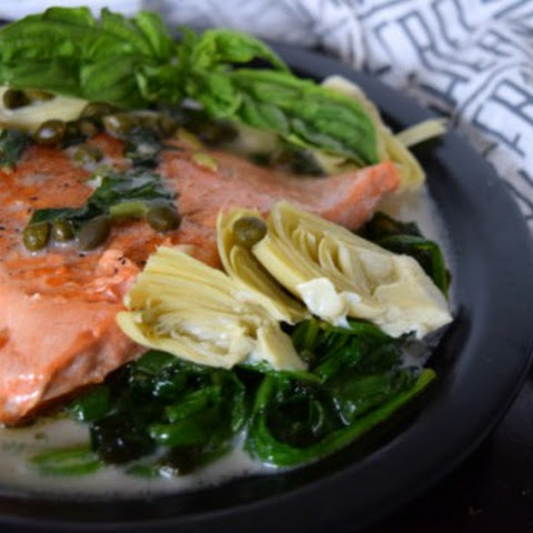 Tuscan Salmon with Coconut Basil Sauce