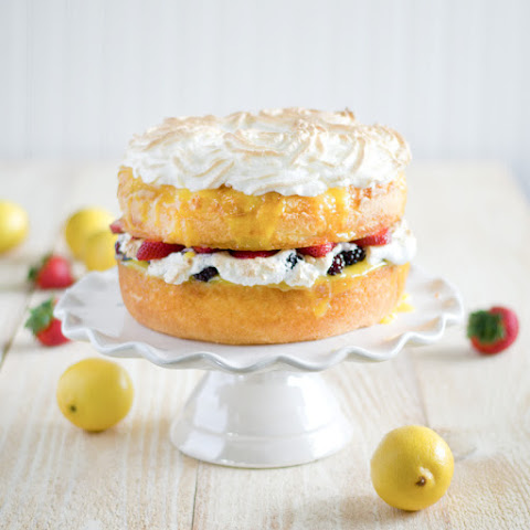 Angel Food Cake with Lemon Curd, Fresh Berries and Meringue Rosettes