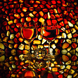 On the Rocks by Lisa Hendrix - Artistic Objects Other Objects ( reflection, apple, artistic, pebbles, wine glasses, rocks, light )
