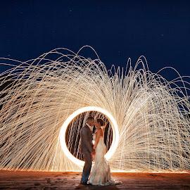 Bride Groom Steel Wool by Joseph Humphries - Wedding Bride & Groom ( creative, steel wool, wedding, steelwool, beach, bride, groom )
