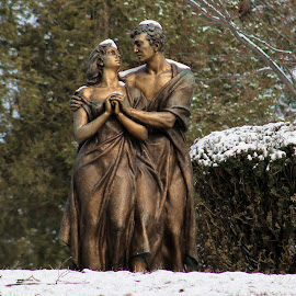 Statue by Tina Marie - Buildings & Architecture Statues & Monuments ( bronze, statue, winter, snow, cemetery )