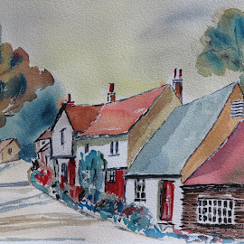 houses by Luis Felipe Moreno Vázquez - Painting All Painting ( watercolor, houses, colors, trees )