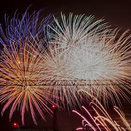 Crane mounted fireworks by Pierre Tessier - Abstract Fire & Fireworks ( auckland, fireworks, new zealand,  )