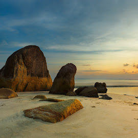 Sunset view of Kuantan Beach, Malaysia by Stanley Loong - Landscapes Sunsets & Sunrises ( calm, warm, calmness, sunset, lanscape, kuantan, warmth, malaysia, yellow, scenery, rocks )