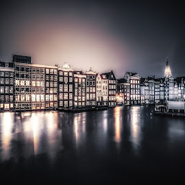 Amsterdam by Adam Lang - City,  Street & Park  Vistas ( houses., reflections, holland, amsterdam, night, netherlands, canal )