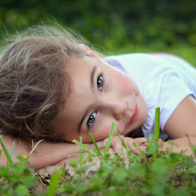 Untitled by Katie McKinney - Babies & Children Child Portraits ( portraiture, child, face, girl, nature, grass, children, cute, portrait, eyes, kid,  )
