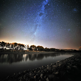 Milky Way seen from Manawatu River by Nadly Aizat Nudri - Landscapes Starscapes ( water, sky, magellan clouds, stars, stargazing, milky way, river )
