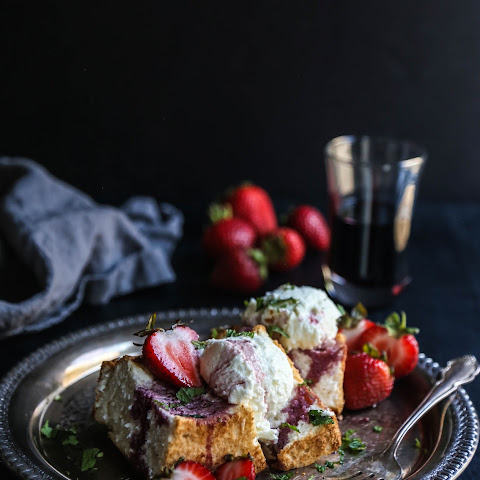 Goat Cheese Mousse Cakes with Bordeaux Soaked Strawberries