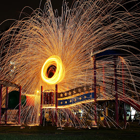 FiRE Playground by Mohd Norsabree Sailan - Abstract Fire & Fireworks ( sabreephotograpict, playground, canon1100d, steelwool, slowshutter, malaysia, fire, hole )