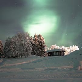 Aurora borealis at Arctic Circle by Natalia Dobrescu - Landscapes Travel ( night scene, aurora, aurora borealis, northern lights, white, finland, travel, landscape, arctic circle, nightscape, winter, night photography, lapland, snow, long exposure )