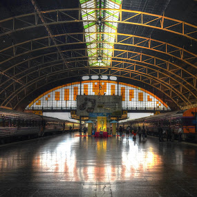 trains by Michelle Meenawong - Transportation Trains ( bangkok, train station, hdr, thailand, train, transportation, public )