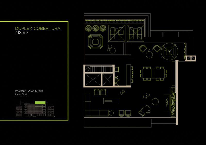 Apto  Cobertura Duplex (42B)  - 418 m² - Piso Superior