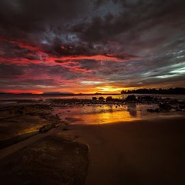 Darkness is Coming #2 by NC Wong - Landscapes Sunsets & Sunrises ( clouds, santubong, sunset, seascape, beach, rocks )