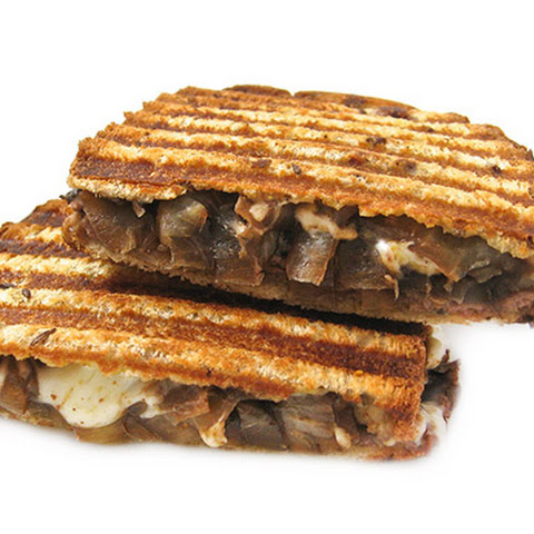 Skinny Grilled Cheese and Roast Beef Topped With Guinness Caramelized Onions