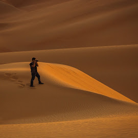 The Different hunter by Al Mamun Abdullah - People Professional People ( dunes, desert, landscape, morning, people, photography )