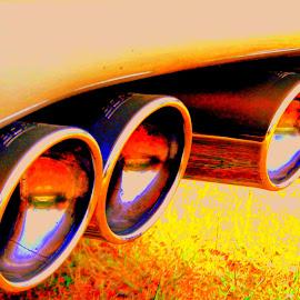 LA VOITURE !  by CECILE MATTI - Transportation Automobiles ( orange, couleurs vives, voitures, sport, pots echappements, jaune,  )