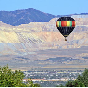 Soaring by Tony Huffaker - Transportation Other ( hot air balloon, utah, salt lake valley, copper mine, soaring )