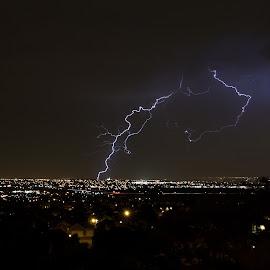 Desert City Lightning by Jeff Harmon - Landscapes Weather ( lightning, desert, salt lake, botls, valley, city )