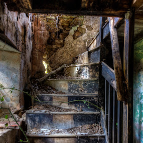 Decaying by Corin Spinks - Buildings & Architecture Decaying & Abandoned ( home, building, rotten, stairs, wooden, nature, cottage, reclaiming, staircase, reclaim, derelict, decaying, abandoned, decay, rotting,  )
