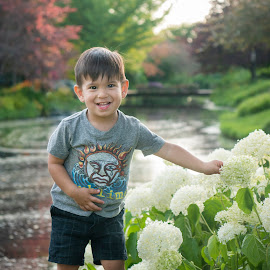 With Hydrangea by Sue Matsunaga - Babies & Children Child Portraits
