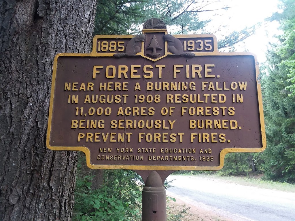 FOREST FIRE Near here a burning fallow in August 1908 resulted in 11,000 acres of forests being seriously burned. Prevent forest fires New York State Education and Conservation Departments, ...