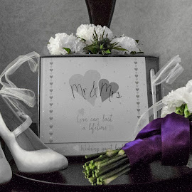 The wedding, book flowers and shoes. by Lyndsay Hepburn - Wedding Details ( whiteshoesandflowers, bridesshoesguestbookandflowers, weddingaccessories, bridesshoesandflowers, weddingpreparations )