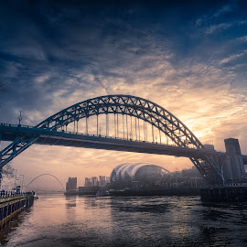 A Misty Start by Adam Lang - Buildings & Architecture Bridges & Suspended Structures ( tyne bridge, sunrise, gateshead, river tyne, newcastle, mist )