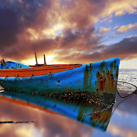 Chained by Jomy Jose - Digital Art Things ( auckland, sunset, larkings landing, beach, boat, beach haven, new zealand )