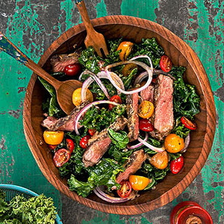 Steak and Sauteed Kale with Miso Dressing