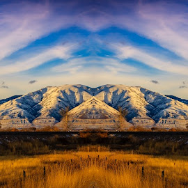 Wasatch Front by Brandon Montrone - Digital Art Places ( abstract, clouds, mountain, peak, art, fine art, landscape, mirror, winter, sky, sunset, snow, symmetry )