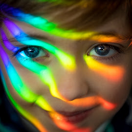 Rainbow Mask by Mike DeMicco - Babies & Children Child Portraits